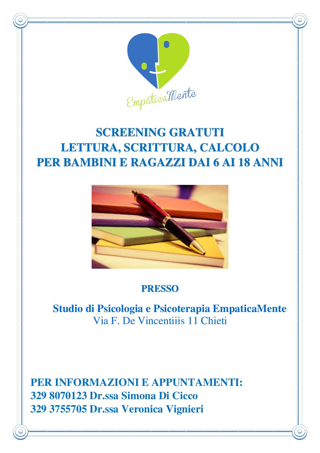 SCREENING 3 pdf - SCREENING LETTURA SCRITTURA CALCOLO